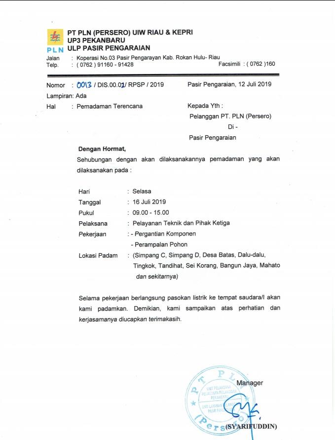 Surta edaran dari ULP PLN Pasirpengaraian tentang pemadaman listrik hari besok