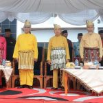 Para Tokoh Pendiri dan Tokoh Masyarakat Rohul menghadiri upacara peringatan Hari Jadi ke 20 Kabupaten Rohul