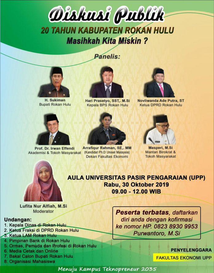 Poster informasi pelaksanaan Diskusi Publik tentang 20 Tahun Kabupaten Rokan Hulu